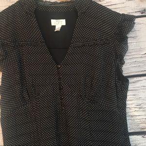 Ann Taylor LOFT Black Dress w/White Polka Dots.